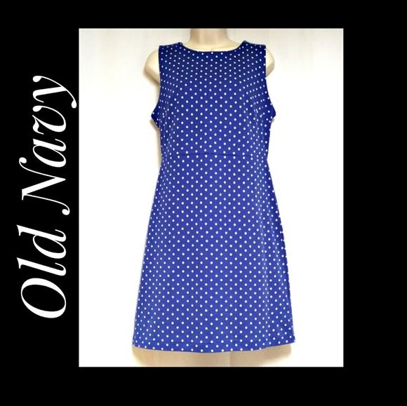 Old Navy Blue White Polka Dot Sheath Dress…